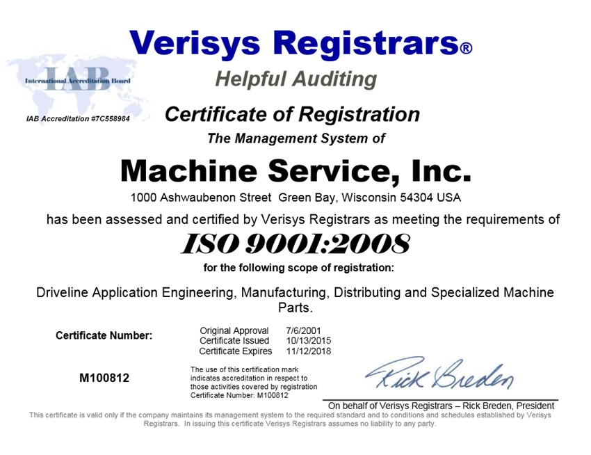 Machine Service, Inc. ISO 9001 2008 Certificate 10-13-2015 (Renewal)